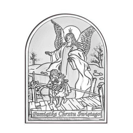 Obrazek srebrny Anioł stróż na kładce 6408