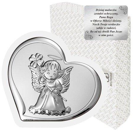 Obrazek srebrny Aniołek Pamiątka Chrztu 6447W