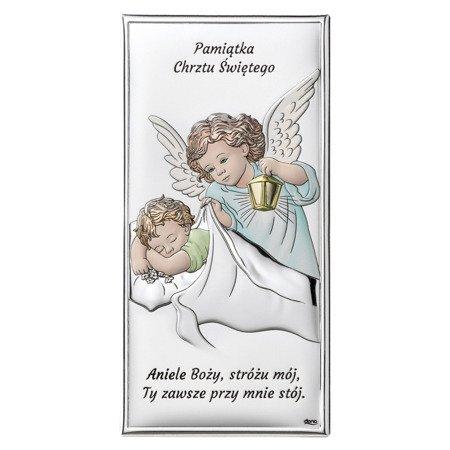 Obrazek srebrny Aniołek Pamiątka Chrztu Świętego DS01C