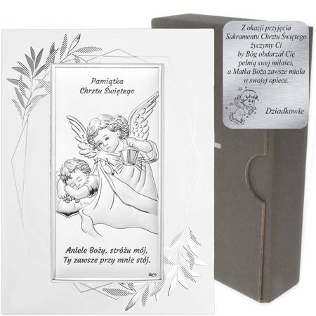 Obrazek srebrny Aniołek Pamiątka Chrztu Świętego DS01FO