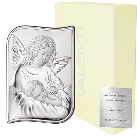 Obrazek srebrny Aniołek nad dzieciątkiem 82109