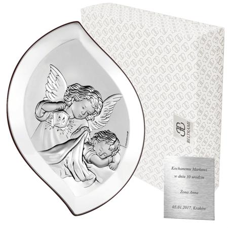 Obrazek srebrny Aniołek nad dzieciątkiem z latarenką Pamiątka Chrztu Świętego 6533