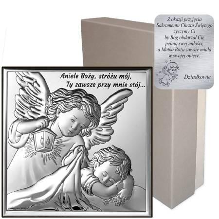 Obrazek srebrny Aniołek z latarenką z podpisem 6730S
