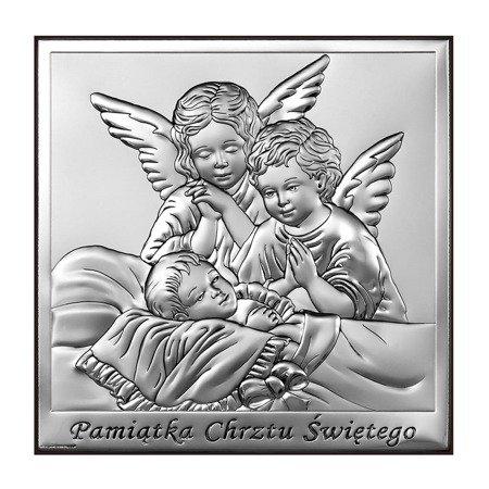Obrazek srebrny Aniołki nad dzieckiem podpisem 6444