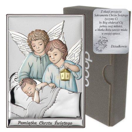 Obrazek srebrny Aniołki nad dzieckiem z latarenką DS09C