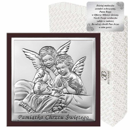 Obrazek srebrny Aniołki nad dzieckiem z podpisem i ramką 6444WM