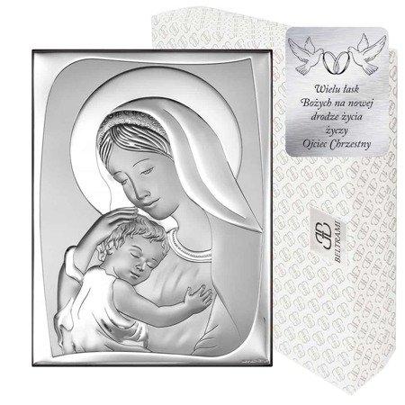 Obrazek srebrny Matka Boska z dzieciątkiem 6546