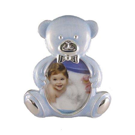 Ramka dziecięca z masy perłowej - niebieska, miś 473-3236