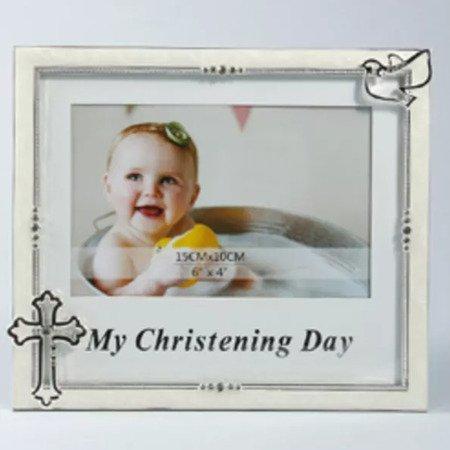 Ramka pamiątka chrztu - beżowa, krzyż 473-3358