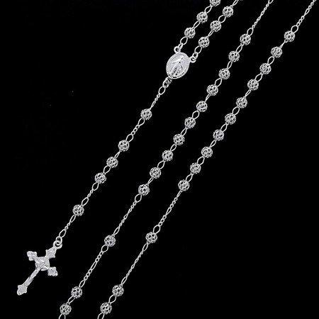 Różaniec srebrny - 5 dziesiątek na szyję, ażurowy rodowany 13,6-14,00 g, srebro pr. 925 RC024