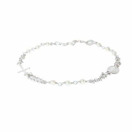 Różaniec srebrny - bransoletka na rękę perła 3,3-3,7 g rodowane srebro pr. 925 BRS29