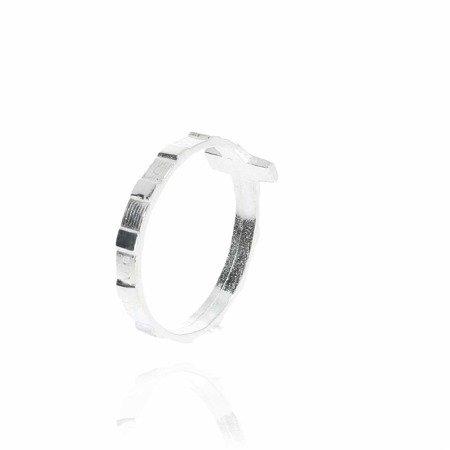 Różaniec srebrny obrączka na palec duży krzyżyk, rozmiary 8-27  Srebro pr. 925 RPM01