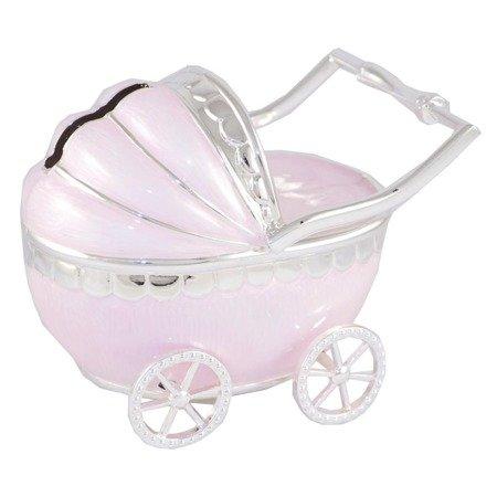 Skarbonka z masy perłowej - różowy wózek dziecięcy 473-3142
