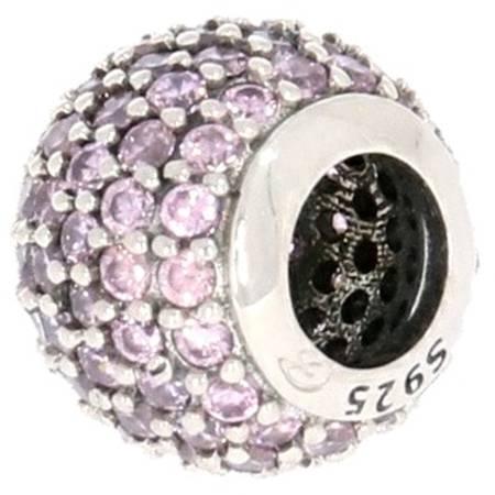 Srebrna przywieszka pr 925 Charms kulka cyrkonie róż  PAN126