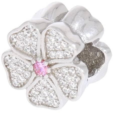 Srebrna przywieszka pr 925 Charms kwiat cyrkonie PAN047