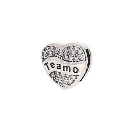 Srebrna przywieszka pr 925 Charms płaski serce Teamo cyrkonia PANP004