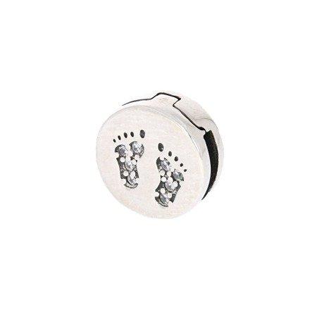 Srebrna przywieszka pr 925 Charms płaski stópki cyrkonie PANP005