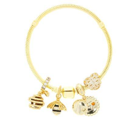 Srebrna przywieszka pr 925 Charms złota pszczoła cyrkonie PAN131