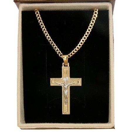 Zestaw Złoty krzyż z łańcuszkiem pancerka w opakowaniu ozdobnym z grawerem pr. 585 ZK061/ZL020/P3/BA-6