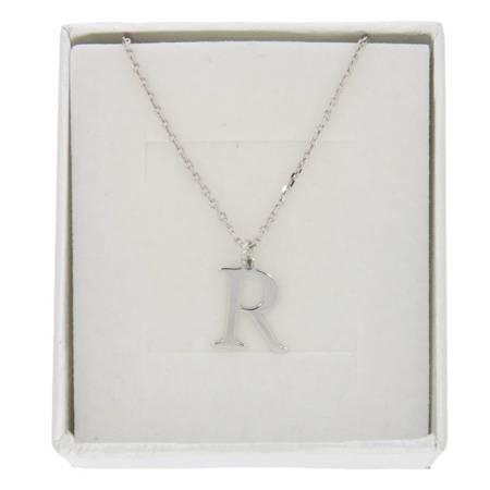 Zestaw naszyjnik celebrytka literka R 1,0 cm srebro rodowane pr 925 z pudełkiem CELR1CM/P40/1