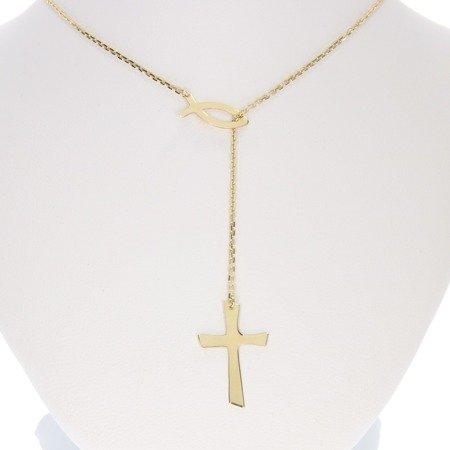 Zestaw prezentowy celebrytka chrześcijańska krzyżyk + rybka. srebro pr 925 CEL42/P3