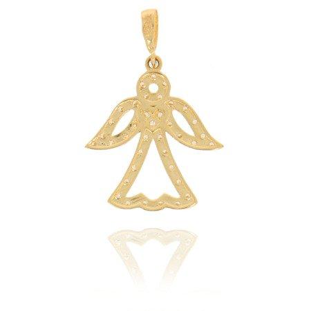 Złota przywieszka pr. 585 Aniołek ażurowy cyrkonie ZP034