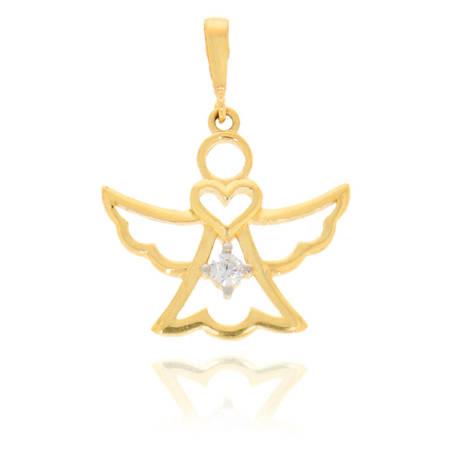 Złota przywieszka pr. 585 Aniołek z sercem cyrkonia ZP032