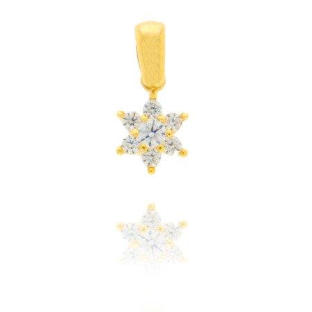 Złota przywieszka pr. 585 Kwiatuszek z okrągłym oczkiem  ZP013