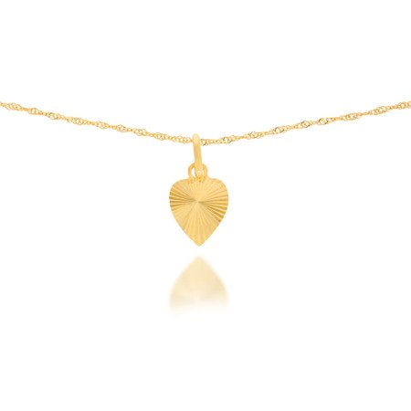 Złota przywieszka pr. 585 Serce duże płaskie promienie ZP023