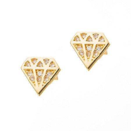 Złote kolczyki pr. 585 Diament cyrkonie sztyft ZA040