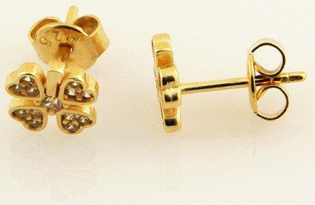 Złote kolczyki pr. 585 Koniczynka z konturem cyrkonie sztyft ZA038