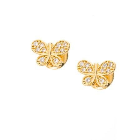 Złote kolczyki pr. 585 Motylek mały cyrkonie sztyft ZA057