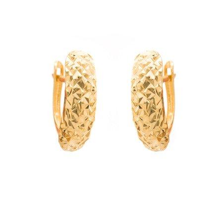 Złote kolczyki pr. 585 diamentowane II (angielskie zapięcie) ZA071