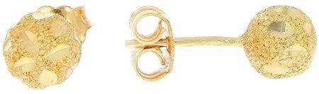 Złote kolczyki pr. 585 kulka duża satyna / grawer sztyft ZA007