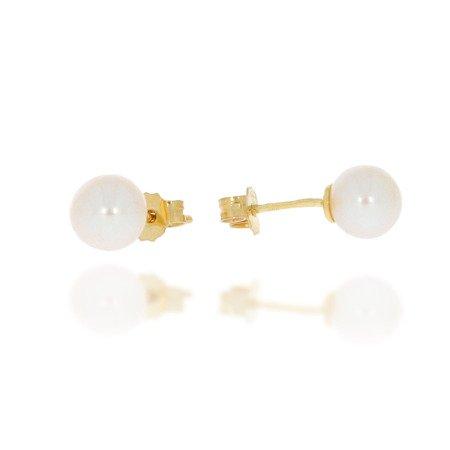 Złote kolczyki pr. 585 kulka perła średnia 6,5 mm sztyft ZA024