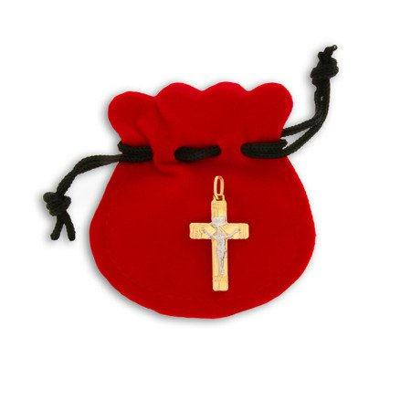 Złoty krzyżyk pr. 585 Krzyż z wizerunkiem Jezusa ZK027