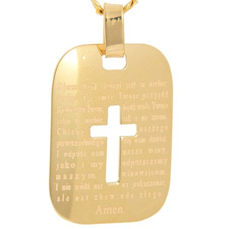 Złoty krzyżyk pr. 585 Krzyżyk blaszka z modlitwą ZK053
