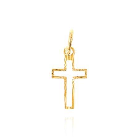 Złoty krzyżyk pr. 585 Krzyżyk kontur promienie ZK003