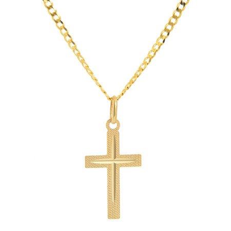 Złoty krzyżyk pr. 585 Krzyżyk płaski ZK042