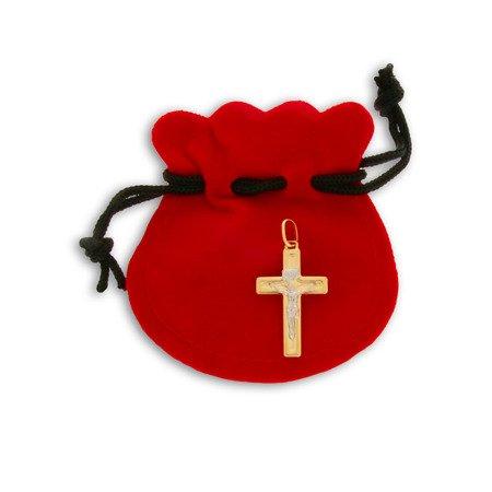 Złoty krzyżyk pr. 585 Krzyżyk płaski z wizerunkiem Jezusa ZK035