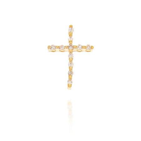 Złoty krzyżyk pr. 585 Krzyżyk prosty cyrkonie ZK016