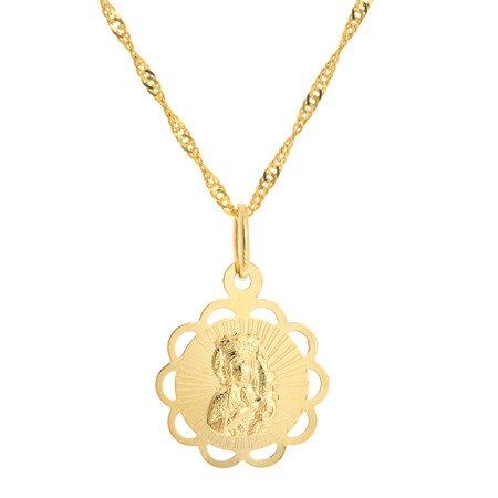 Złoty medalik pr. 585 M.B. Częstochowska kwiat ażur ZM045