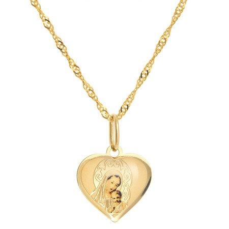 Złoty medalik pr. 585 M.B. z dzieciątkiem serce  ZM063