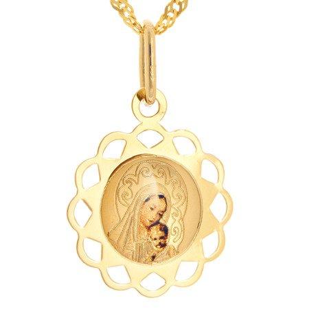 Złoty medalik pr. 585 Matka Boska z dzieciątkiem kwiatek ażur kolor  ZM074