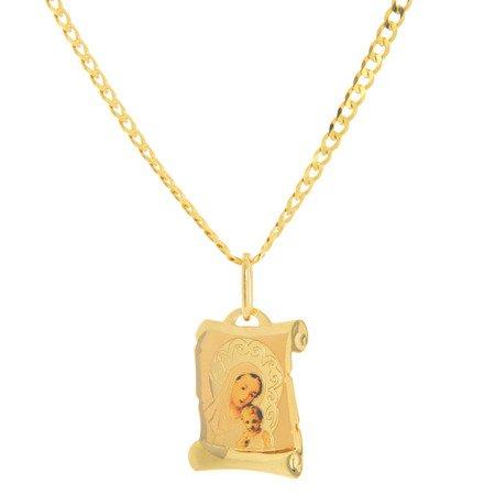 Złoty medalik pr. 585 Matka Boska z dzieciątkiem papirus kolor  ZM077