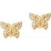 Złote kolczyki pr. 585 Motylek duży cyrkonie sztyft ZA056
